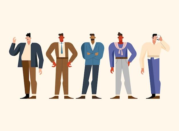 Five businessmen characters