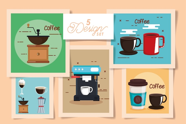 Five cards of coffee