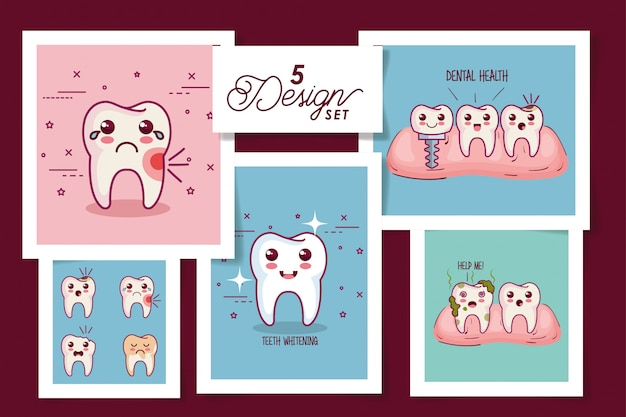Five cards dental health icons