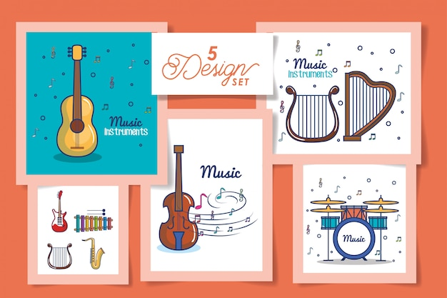 Five cards of instruments music icons