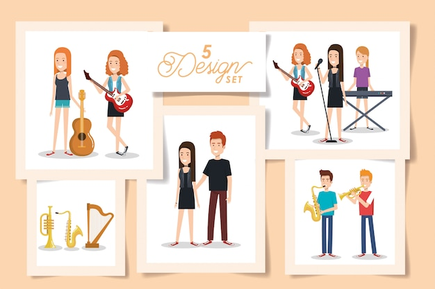 Five cards of young people with musical instruments