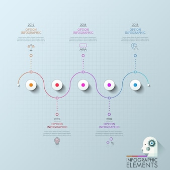 5つの円が水平線に編成され、アイコン、テキストボックス、年の表示と接続されています。会社開発の5つのマイルストーンの概念。