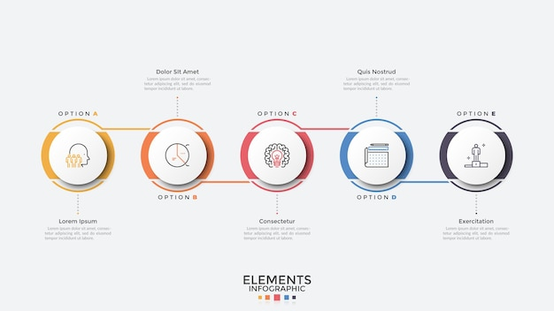 Five circular elements arranged in horizontal row and connected. modern infographic design template. concept of 5 stages of business process. vector illustration for presentation, report, banner.