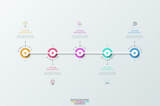 Пять круглых элементов, расположенных горизонтально и соединенных белой линией, линейными значками и текстовыми полями. концепция пяти последовательных шагов к завершению проекта.