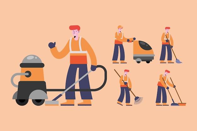 Пять персонажей группы уборщиков