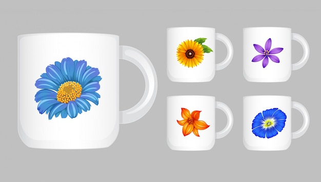 Five coffee cups with flower graphic
