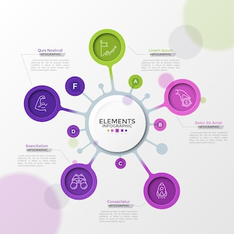 Five colorful circular elements with linear pictograms inside connected to main circle. concept of strategic mind map with 5 options. futuristic infographic design template. vector illustration.