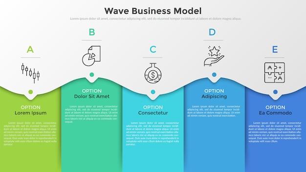 5개의 다채로운 직사각형 요소, 가는 선 그림, 포인터 및 텍스트 상자. 5단계의 연속적인 웨이브 비즈니스 모델의 개념입니다. 현대 infographic 디자인 서식 파일입니다. 벡터 일러스트 레이 션.
