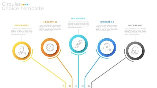 内部に細い線の記号があり、テキストを配置する5つのカラフルな丸い要素。選択する5つの戦略的オプションの概念。モダンなインフォグラフィックデザインテンプレート。プレゼンテーションのベクトルイラスト。