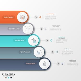 Пять разноцветных закругленных лент с круглыми бумажными белыми элементами и линейными символами, расположенными одна под другой. концепция 5 уровней развития бизнеса. шаблон оформления инфографики. векторная иллюстрация.