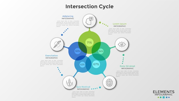 Five colorful transparent circles with percentage indication inside connected to round paper white elements with linear icons. infographic design template. vector illustration for statistical report.
