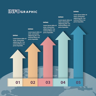 Five columns bar chart slide template