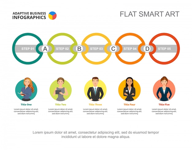 Five connected circles process chart template for presentation. business data.