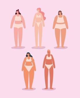 Пять симпатичных женщин в нижнем белье. концепция разнообразия