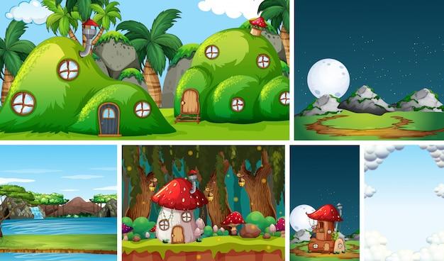 Cinque diverse scene del mondo fantastico con la casa della fantasia nella fiaba e la cascata d'acqua e la casa dei funghi