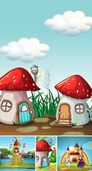 Five different scene of fantasy world with mushroom house