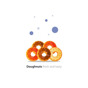 Five diverse colorful doughnuts in pile, sweet tasty ring donuts icon, glazed doghnuts with sprinkles