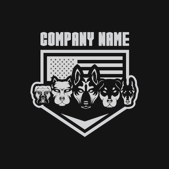Five dog usa flag vector illustration