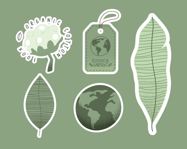 Five ecological garment set icons