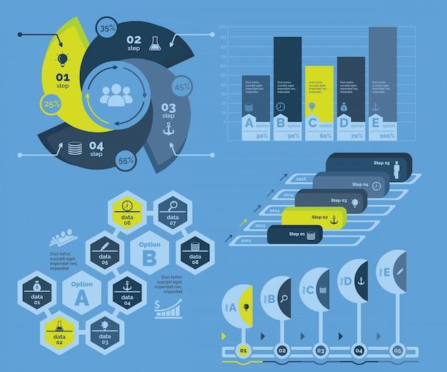 Five economics charts templates set