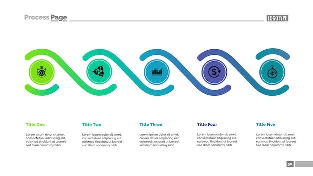 Пять элементов обрабатывают шаблон диаграммы. бизнес-данные.