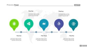 Five elements process diagram template. Business data. Graph, chart