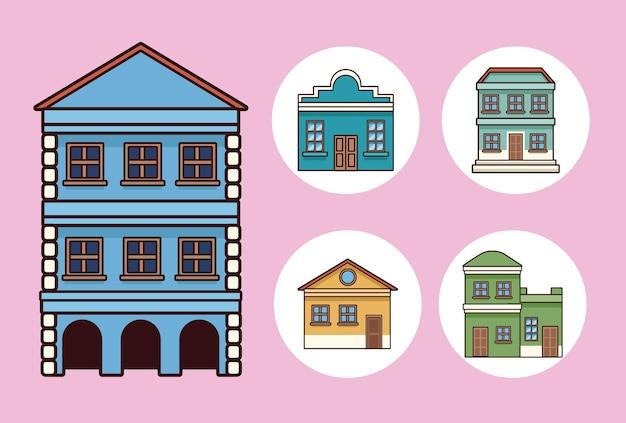 5つのフェスタジュニーナの建物 Premiumベクター