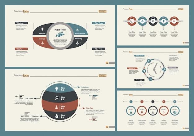 5つの金融スライドテンプレートセット