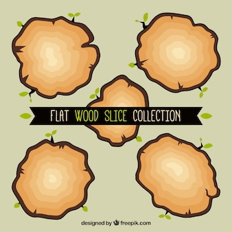 Five flat slices wooden