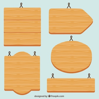 Five flat wooden signs