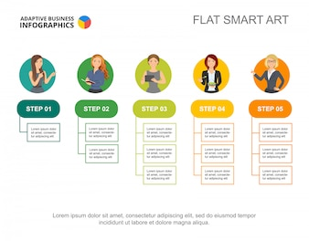 Five flowchart infographic. Editable template for step diagram, process chart.
