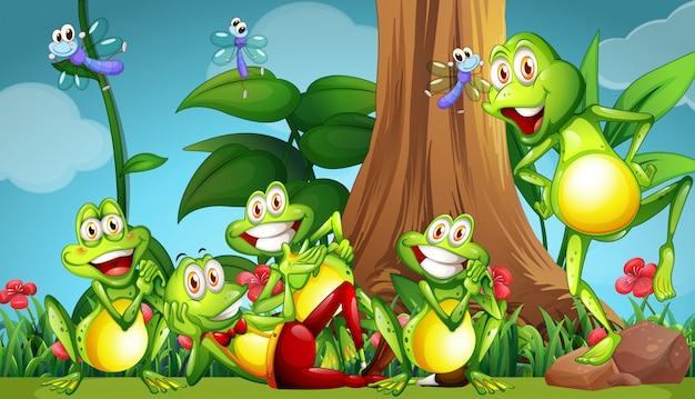 Five frogs and dragonflies in the garden