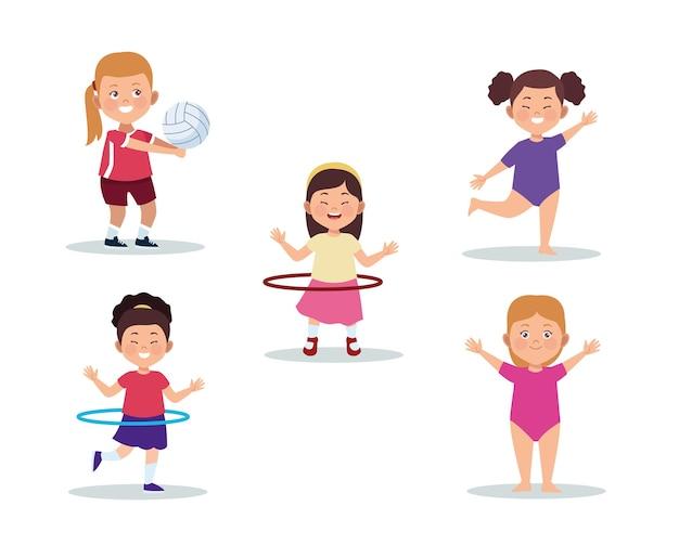 Five girls activities Premium Vector