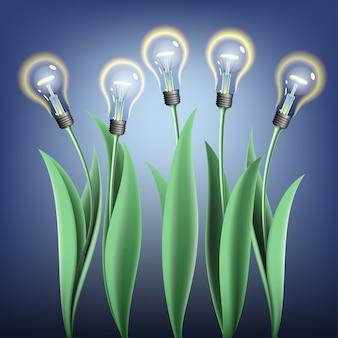 Five glowing lamp bulb tulips