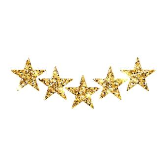 다섯 개의 금 별 고객 제품 평가 리뷰. 앱과 웹사이트를 위한 5개의 황금 별 아이콘 프리미엄 벡터