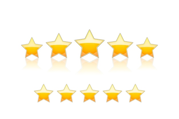 Five gold stars isolated