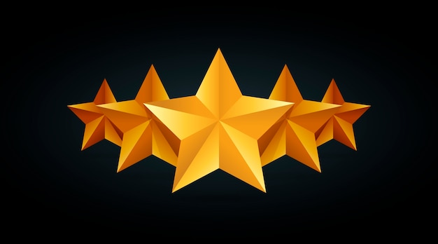 Five golden rating star  illustration in gray black background.