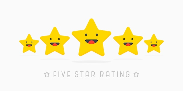 Five golden rating star with cute smile face