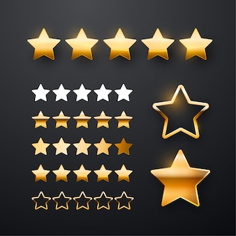 Five golden stars icon set for app interface