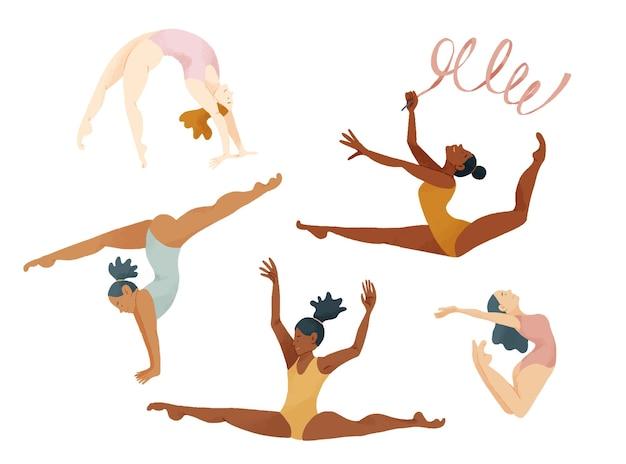 Иллюстрация пяти гимнасток