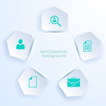 Пять шестиугольных наклеек с бизнес-иконками для веб-дизайна, вырезанного из белой бумаги, реалистично
