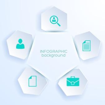 Cinque adesivi esagonali con icone di affari per ritaglio di web design da carta bianca realistica