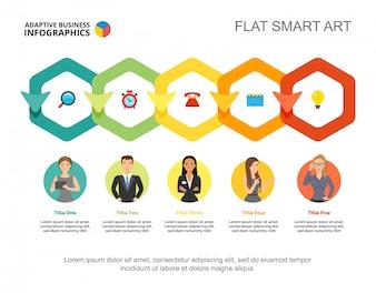 Five hexagons process chart template. Business data.