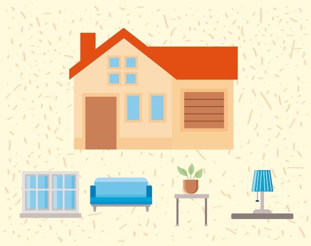 Five home improvement set icons