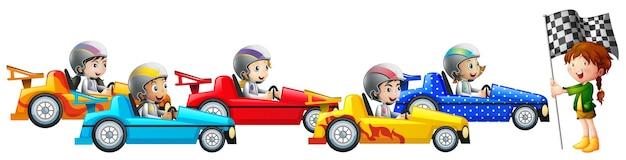 5명의 아이들이 함께 경주하는 자동차