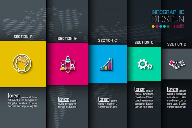 Five labels with business icon infographics.