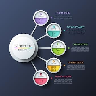 Пять кружков, соединенных линией с центральным круглым элементом. концепция 5 функций, качеств или вариантов на выбор. реалистичная инфографики дизайн макета.