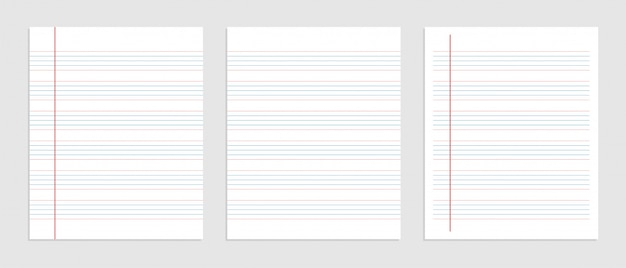 Five line english paper sheet of notebook