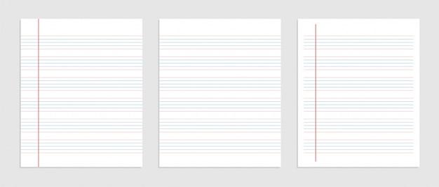 ノートの5行の英語の紙のシート