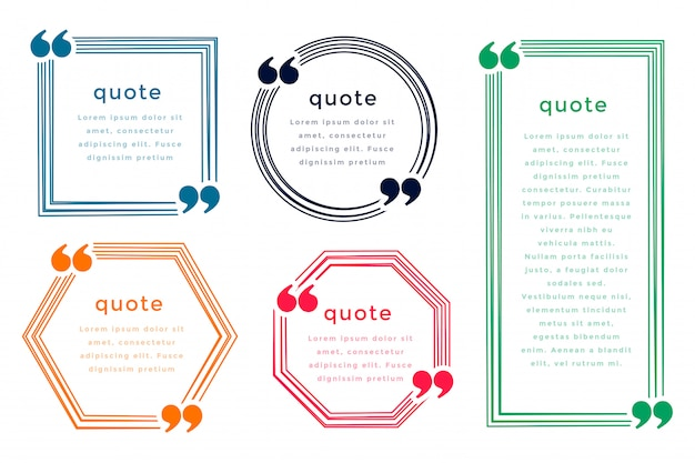 Five line style quotation boxes template design